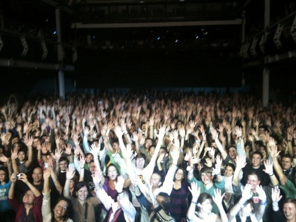 taken from the stage by Mike (the bassist).