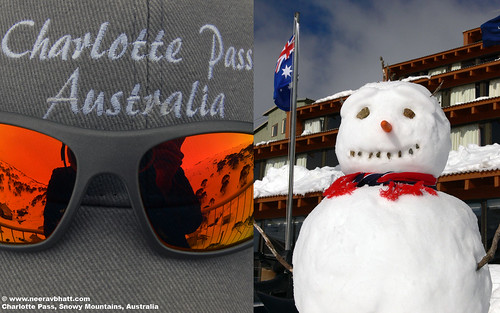 free 1680x1050 resolution desktop wallpaper photo of a Snowman in Charlotte Pass, Snowy Mountains