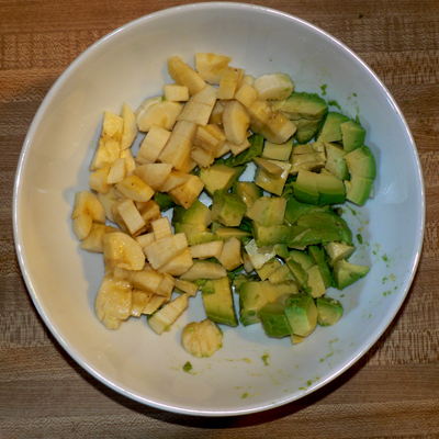 Diced avocados and bananas