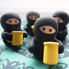crafting 104/365 (Vicki Brown Designs) Tags: uk black cup star tea handmade ninja craft clay weapon sword mug ninjas throwing polymer nunchucks lilley 241109
