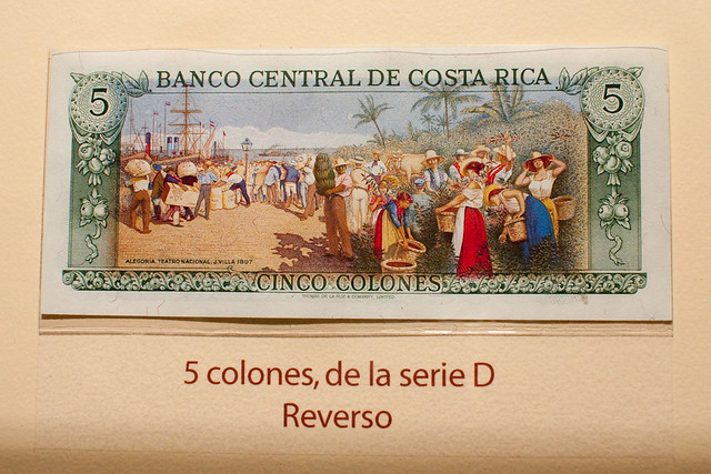 Old cinco colones note