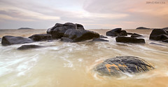 Sweet Rock II (Kento973) Tags: sunset mer seascape beach water rock photoshop nikon eau raw nef wave explore vague plage rocher lightroom d300 frenchguiana guyanefranaise kento973