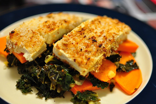 PANKO-CRUSTED TOFU WITH KALE AND YAMS