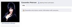 Cassandra only shares certain information with everyone. (Jeffrey) Tags: irony juxtaposition elvira cassandrapeterson facebook writeyourownpunchline