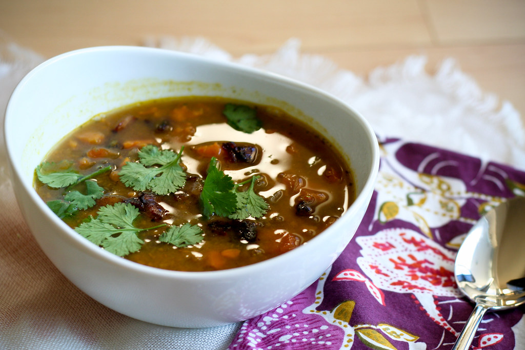Lentil & Sweet Potato Soup with Bacon & Cilantro