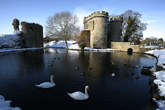 Snowy castle. (foto.pro) Tags: winter snow castle swan shropshire moat whittington
