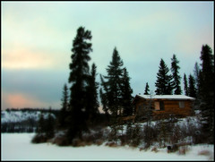 A small cabin (Northwest haidaan) Tags: sunset cabin bc 2009 palmerlake atlin