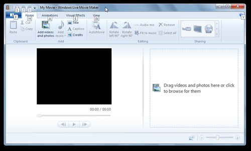 Opening Windows Live Moviemaker Screen