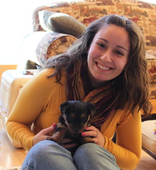 Nathalie with a pup