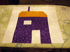 Monika's House (a_phoenix_rain) Tags: orange white yellow purple quilting quiltblock wonkyhouse wonkyhouseblock birthdayblocks2010