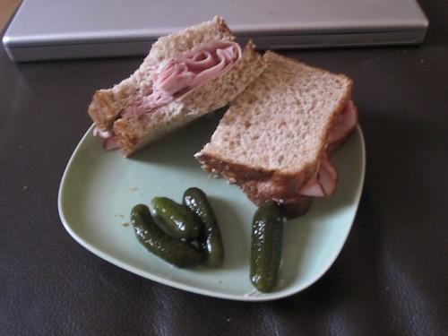 ham sandwich, pickles