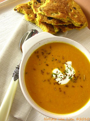 spiced carrot and lentil soup.