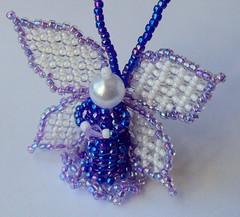 Handwoven Glass Bead Angel (fivefootfury) Tags: blue angel wings figurines beaded beadwork blueangel littleangel angelwings tinyangel angelfigure fivefootfury dollsandminiatures