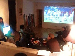 Dual screen setup @ my SuperBowl party:  one f...