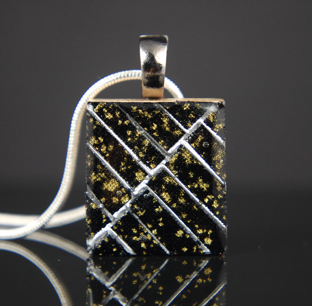 Black and Gold Fabric and Resin Tiny tile
