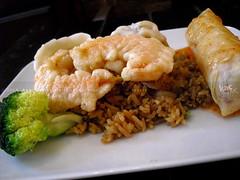 Ging, UES, NYC, Crispy Shrimp, Fried Rice, Steamed Pork Dumplings and Eggroll (KAC NYC) Tags: asian rice shrimp broccoli vegetable crispy pork delivery fried dumplings ging eggroll phude