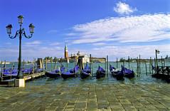 Venice (Prodromos Sarigianis) Tags: venice italy canal explore gondola venezia fujivelvia isoladisangiorgiomaggiore rivadeglischiavoni scannedonnikoncs4000ed slideusingleicar8