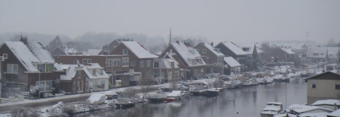 Holanda nevada, vista desde un molino.