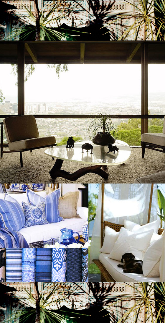 Blue and White Tropical Master Bedroom Decor Inspiration -top