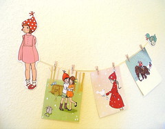 Postcards in Abby-Sue's Room (KnockKnocking) Tags: cute girl toy pull sweet postcard retro ribbon