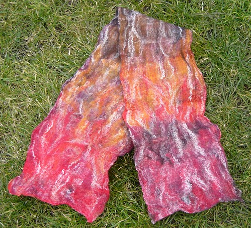 FIRE! Wet felted scarf