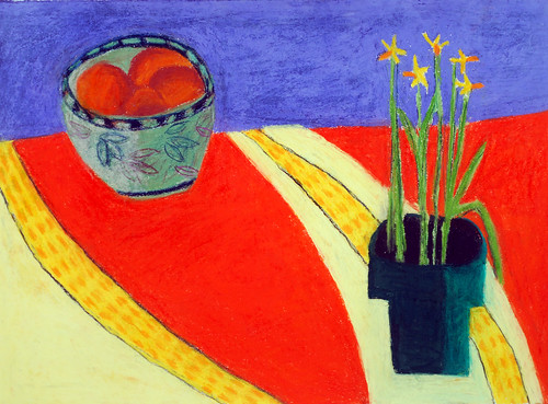 "Daffodils and Oranges - pastel on paper 22"" x 30"" $1100"