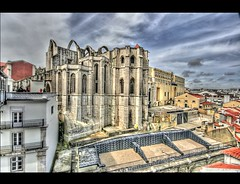 Ruins of  the Carmo Convent (! .  Angela Lobefaro . !) Tags: trip travel blue vacation sky portugal nature clouds landscape religious ruins bravo nuvole catholic arch god lisboa lisbon patterns faith religion jesus perspective himmel arches christian ciel monastery cielo linux christianity lissabon nuages tejo convent hdr lisbonne lis