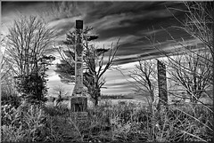 Brian_Dark Days BW 2 (starg82343) Tags: chimney bw sun sunlight clouds outside outdoors md colorful destruction maryland peaceful monotone brush despair grayscale majestic 2d desolate destroyed denton burntout openair darksky darkdays