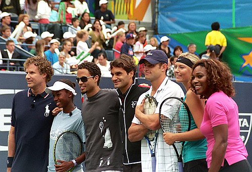 Will Ferrell, Quudus, Roger Federer, Andy Roddick, Maria Sharapova & Serena Williams
