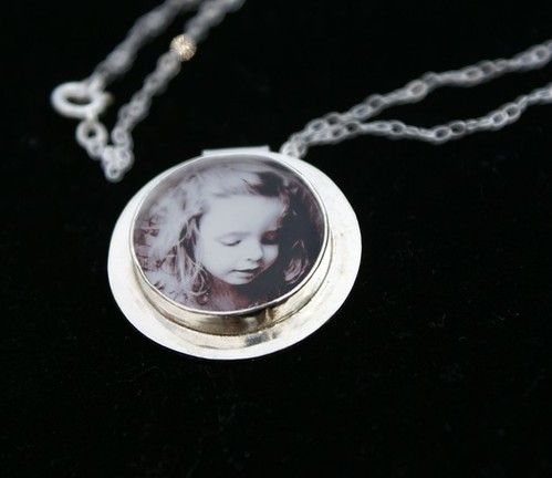 Photo Pendant, Sterling Silver, Hand Forged, Round Circle Shape