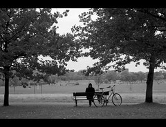 And there, he found his spot. (edmundlwk) Tags: park trees bw man london bicycle bench alone primrosehill 1755f28is canon450d rebelxsi edmundlim