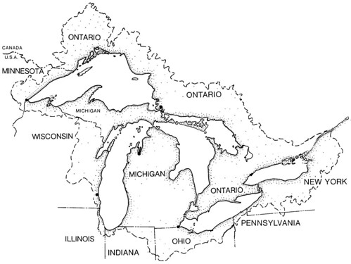 Basin map of the Great Lakes by NOAA Great Lakes Environmental Research Laboratory
