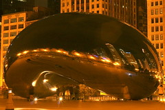 The Bean (nvsule) Tags: park longexposure chicago metal night canon reflections shiny millenium bean blob cloudgate 50mmf18 flickrchallengegroup
