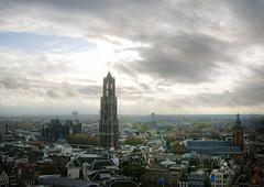 Domtoren, Utrecht, The Netherlands, 2009 (lambertwm) Tags: sky panorama church clouds utrecht domtoren cityscape view cathedral horizon nederland thenetherlands wolken photomerge uitzicht hemel stadsgezicht themedomtoren