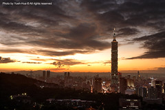 Taipei City at Sunset  Nov. 03, 2009 (*Yueh-Hua 2013) Tags: camera sunset building tower architecture night skyscraper canon buildings eos fine taiwan explore 101  5d taipei taipei101 dslr        canonef2470mmf28lusm  101    canoneos5d    horizontalphotograph  l  taipei101skyscraper taipei101internationalfinancialcenter tigerpeak   2009november