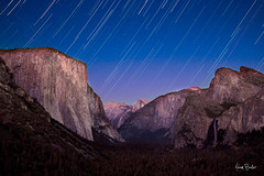 tunnel view twilight ([Adam Baker]) Tags: california blue night photoshop canon stars landscape nationalpark twilight long exposure purple valley yosemite halfdome moonlight portfolio elcapitan bridalveilfalls layering tunnelview startrail 24105l adambaker 5dmarkii