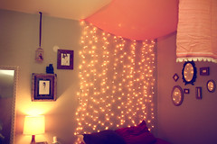 Bedroom (Skunkboy Creatures.) Tags: christmas lights bed bedroom sleep canopy caitlinshearer