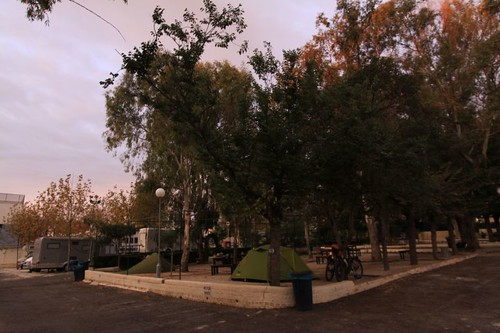 Early morning at the campsite in Torremolinos...