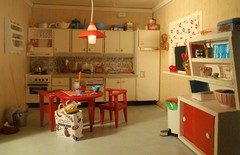 The kitchen (pubdoll) Tags: red kitchen miniature dollhouse dollshouse lundby 116scale 116thscale 34scale modernminiature