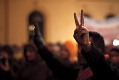 Change-demonstrasjon mot USAs handlinger i Afghanistan under Obamas besøk