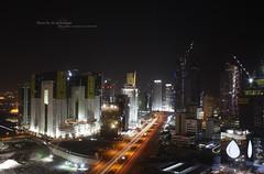 Doha Today (MJ ♛) Tags: lighting street light streets tower night canon eos towers 1855mm 1855 efs doha qatar برج الخليج qtr منظر قطر الدوحة الابراج دوحة 40d ليلي سرعة ماجد الغربي الاحمدي