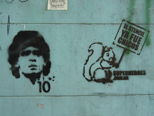 IBsAs stencil art Maradoda + squirrel