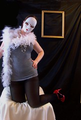 Day 223: Poker Face (KatB Photography) Tags: red woman white selfportrait black self necklace shoes mask feminine tights pearls boa 365 redshoes featherboa photoframe pictureframe blacktights whitemask project365 fullfacemask whiteboa womanmask femininemask whitefeatherboa