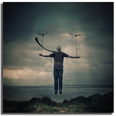 Take me away (Aaron_Bennett) Tags: uk sea sky cliff selfportrait man art water birds clouds scarf photography floating levitation manipulation rope textured aaronbennett nikond300 godbeems