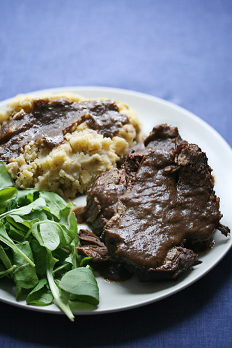 Coffee Braised Beef w/ Mashed Plantains