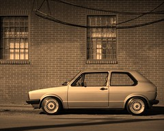 Grafitti free zone. (DUKEDLF) Tags: street windows shadow white black brick rabbit wall vw golf low clean asphalt bbs