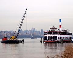Floating Crane Barge with Binghamton Ferry Boat, Hudson River, Edgewater NJ (jag9889) Tags: abandoned ferry restaurant boat newjersey closed crane nj floating tugboat hudsonriver tug edgewater binghamton 2010 workboat bergencounty 07020 zip07020 y2010 jag9889