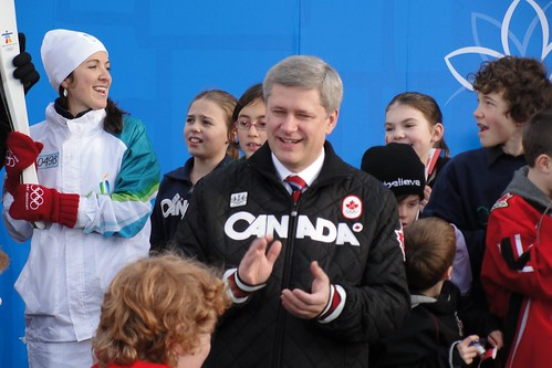 Prime Minister Harper at the Torch Relay's arrival at Canada Pavilion this morning