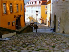 Hradcany, the other side of Prague (jackfre2) Tags: houses castle colors prague cobblestones lamppost oldtown hradcany youngsters mywinners mygearandmepremium