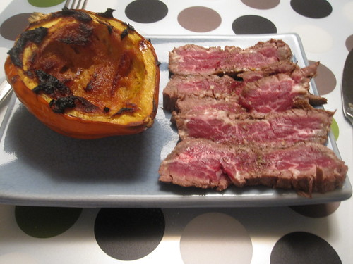 Miso butter roasted squash, cold skirt steak